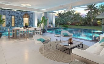 Villa Grand Baie - séjour et piscine - PLEION Private Services