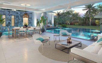 Villa Grand Baie - séjour et piscine