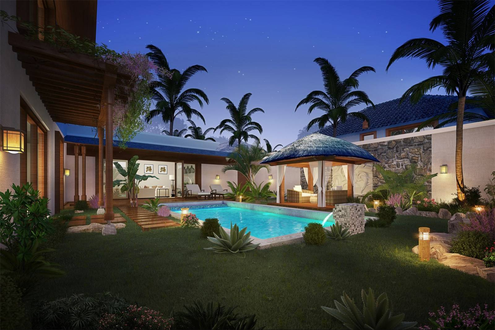 Villa à Pereybere, vue extérieure jardin, nuit - PLEION Private Services